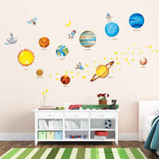 Nursery Stickers Amazon Com Decowall Dw 1307 Planets In The Space Peel And Stick