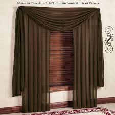 Chocolate Curtains With Valance Reverie Snow Voile Semi Sheer Window Treatment