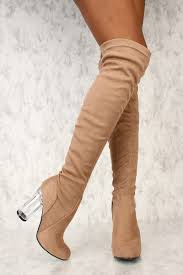s boots taupe taupe closed toe chunky clear heel thigh high boots faux suede