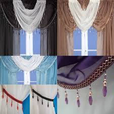 Shabby Chic Voile Curtains by Crystal Beaded Voile Curtain Swags All Colours Pelmet Valance Net