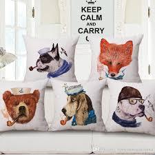 red fox dog bear custom cushion covers pipe smoking pillows case