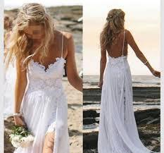 Custom Made Wedding Dress Perfect Boho Beach Wedding Dress A Line Spaghetti Straps Lace