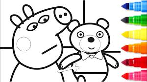 peppa pig teddy bear coloring pages peppa coloring book videos