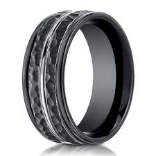men in black wedding band hammered finish designer cobalt chrome ring for men in black 8mm