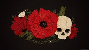download 2560x1440 november skull with flowers wallpaper