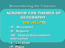 5 Themes Of Geography Acronym   the 5 themes of geography unit 1 week 1 the five themes of