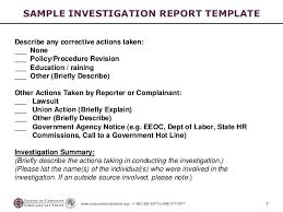 investigation report template investigation report format exles fieldstation co