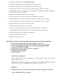 Sample Resume For Maintenance Engineer by Resume Electrical O U0026m Engineer
