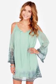 light green dress with sleeves cute green dress shift dress tie dye dress off the shoulder