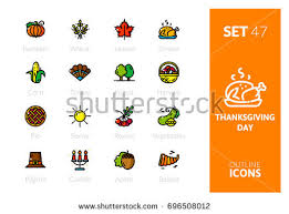 thanksgiving outline icons free vector stock