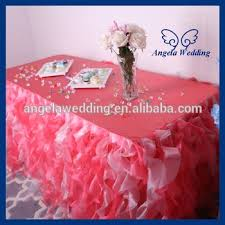 fuschia pink table cloth cl010da party organza ruffled curly willow frilly pink and light