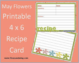 printable recipe cards 4 x 6 may flowers free printable 4 6 recipe card menu plan monday 3