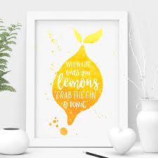 Quotes Home Decor Funny Gin Quote A5 Typographic Print Wall Art Home Decor