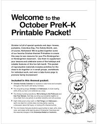 october prek k printable packet by