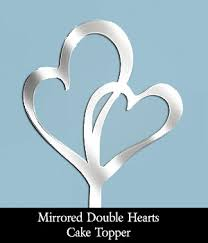 heart wedding cake toppers mirrored hearts wedding cake topper