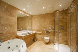 modern bathroom interior with marble tiles and mirror stock photo