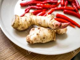 galangal cuisine galangal and chilli on the plate food spices stock photo