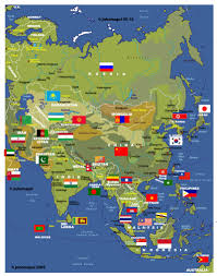 map of asai asia map with countries flags and capitals new zone