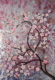 saatchi large tree cherry blossom silver painting by