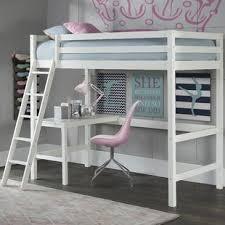 white loft bed with desk white bunk loft beds you ll love wayfair ca
