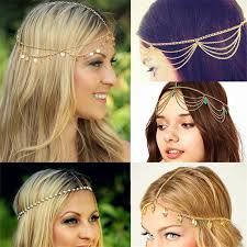 hair jewelry bohemian metal gold color chain hair jewelry for women 8