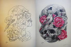 bird skull and flowers tattoo designs in 2017 real photo
