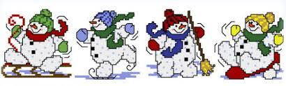 4 Snowman Ornaments Cross Stitch Pattern Ornaments