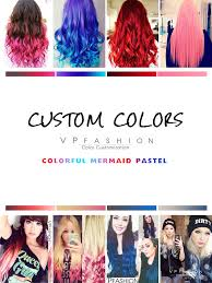 colorful clip in color customized human hair extensions vpfashion