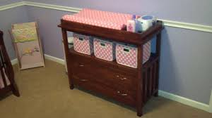 Cherry Wood Baby Changing Table Furniture Pink Painted Wooden Changing Table Dresser With Drawers