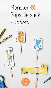 printable monster popsicle stick puppets create in the chaos
