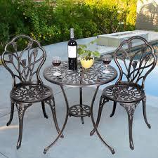 Aluminium Bistro Chairs 3pcs Tulip Design Garden Bistro Set Cast Aluminium Outdoor