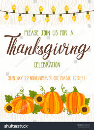 vector thanksgiving invitation template invite harvest stock