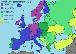 European Countries Map Oc European Countries By Human Development Index Eastern Europe