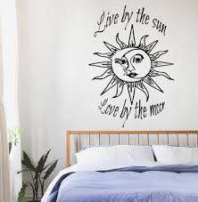 wall decals quotes sun moon crescent dual ethnic stars night