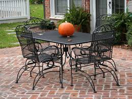 Iron Patio Table Set Wrought Iron Patio Furniture Chairs Costco Throughout Black Rod