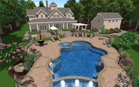 pool spacious backyard with swimming pool design featuring stone