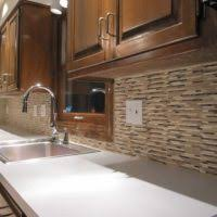 Stone Tile Kitchen Backsplash by Small Kitchen Design Using White Stone Tile Kitchen Backsplash