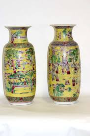 Large Chinese Vases 19th Century Fine Large Imperial Style Palatial Yellow Porcelain