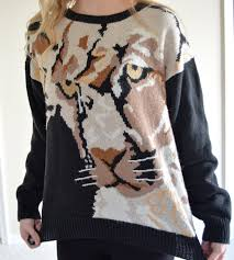 russ tiger sweater awesome black cat sweater medium med m hipster