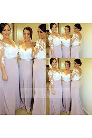 two color wedding dress shop discount v neck lace bridesmaid dresses with 3 4 sleeves two
