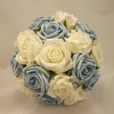 wedding flowers blue and white posy bouquets baby blue white posy bouquet silk wedding