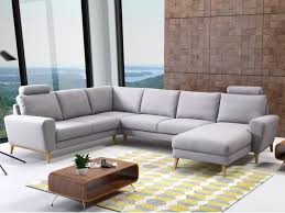 canapé d angle gris clair canapé d angle panoramique en tissu 4 coloris visby