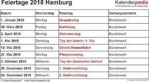 Kalender 2018 Hamburg Feiertage Feiertage Hamburg 2017 2018 2019 Mit Druckvorlagen