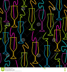cocktail glass party seamless pattern background stock vector