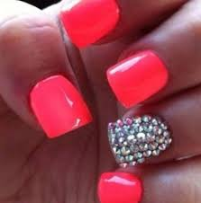pink acrylic nails with rhinestones nail design art pinterest