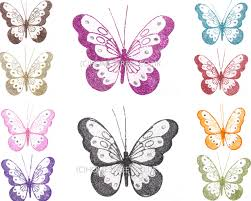 Large Butterfly Decorations by Pack 6 Medium Butterflies Glitter Diamante Nylon Butterfly