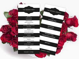 tea length wedding program template wedding program template black striped frame tea length