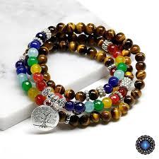 beads charm bracelet images 7 chakra 108 mala natural stone beads tree of life charm bracelet jpg