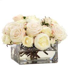 Silk Flowers In Vase Arrangements English Rose In Glass Vase Traditional Artificial Flower