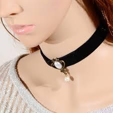 velvet ribbon necklace images Gothic style women black lace choker necklace imitation pearl jpg